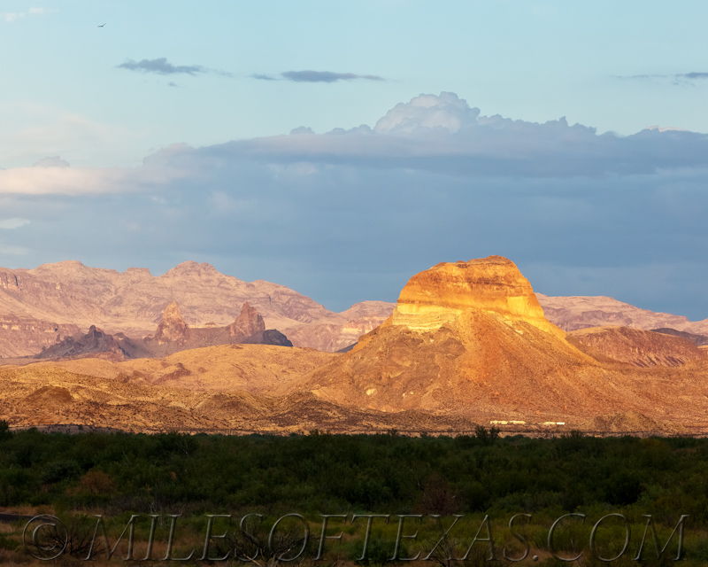 Big Bend Cerro Castellan & Mule Ears at sunset